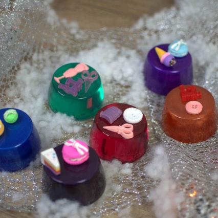 babeczki krawiecki ciężarki rubin fiolet szmaragd niebieski miedzian