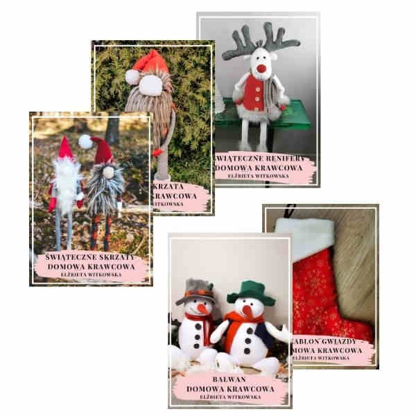 pakiet świąteczny uszyj skrzata łoś skarpeta bałwan